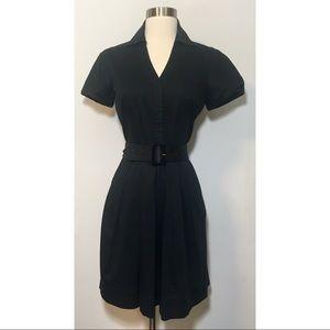 Ann Taylor Petites Black Belted Career Dress Sz 4P